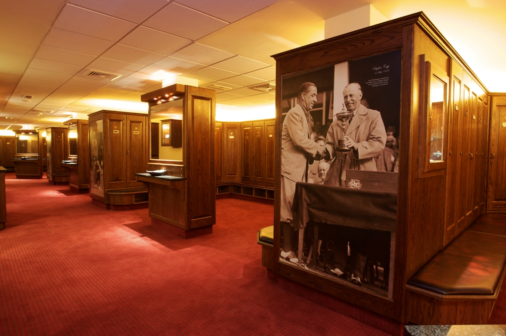 Ryder Cup lockers in the Twenty Ten clubhouse at Celtic Manor