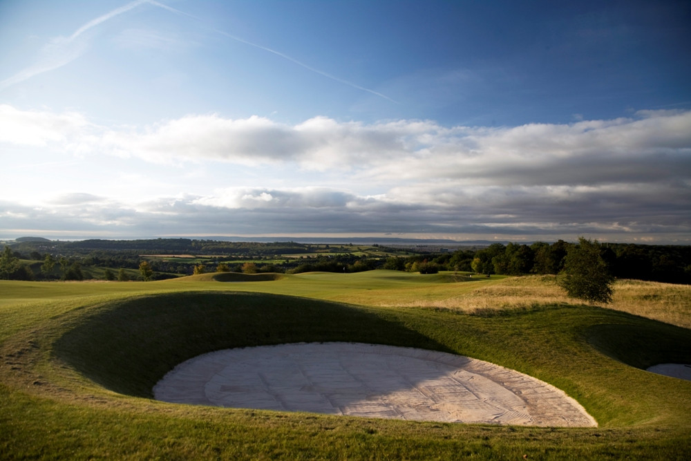 Large bunker on the Montgomerie course at Celtic Manor