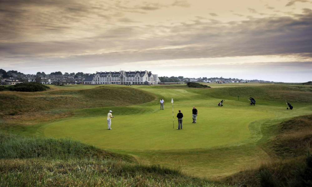 Golfers on the 1st hole of the Championship at Carnoustie