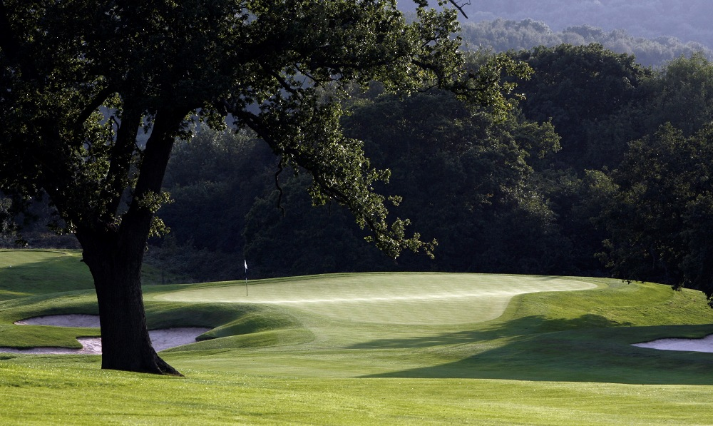 Undulated green on the Roman Road course at Celtic Manor
