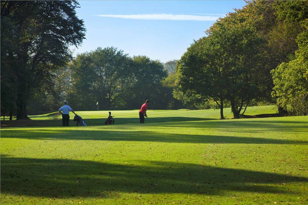 Golfers playing on the Newport golf course