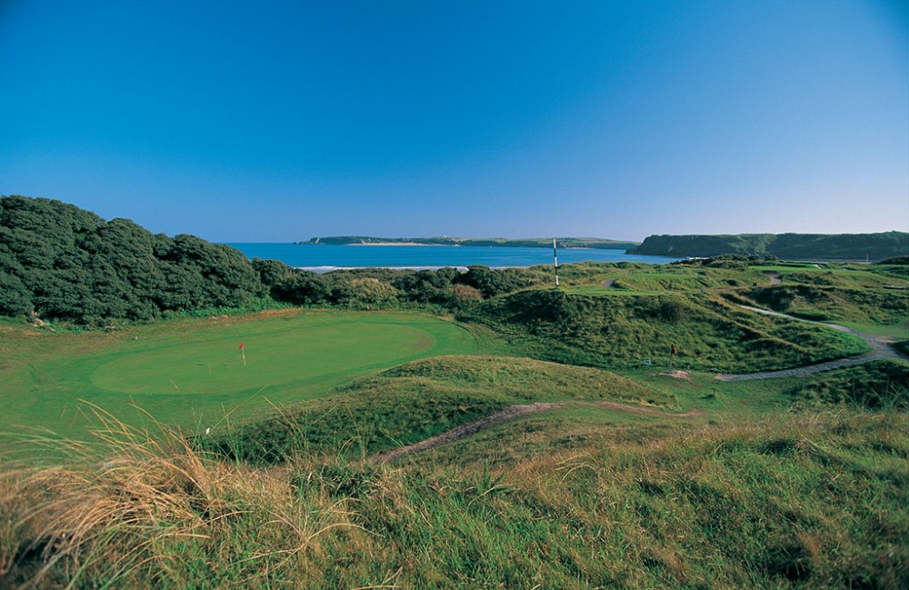 Green and dunes on Tenby golf course