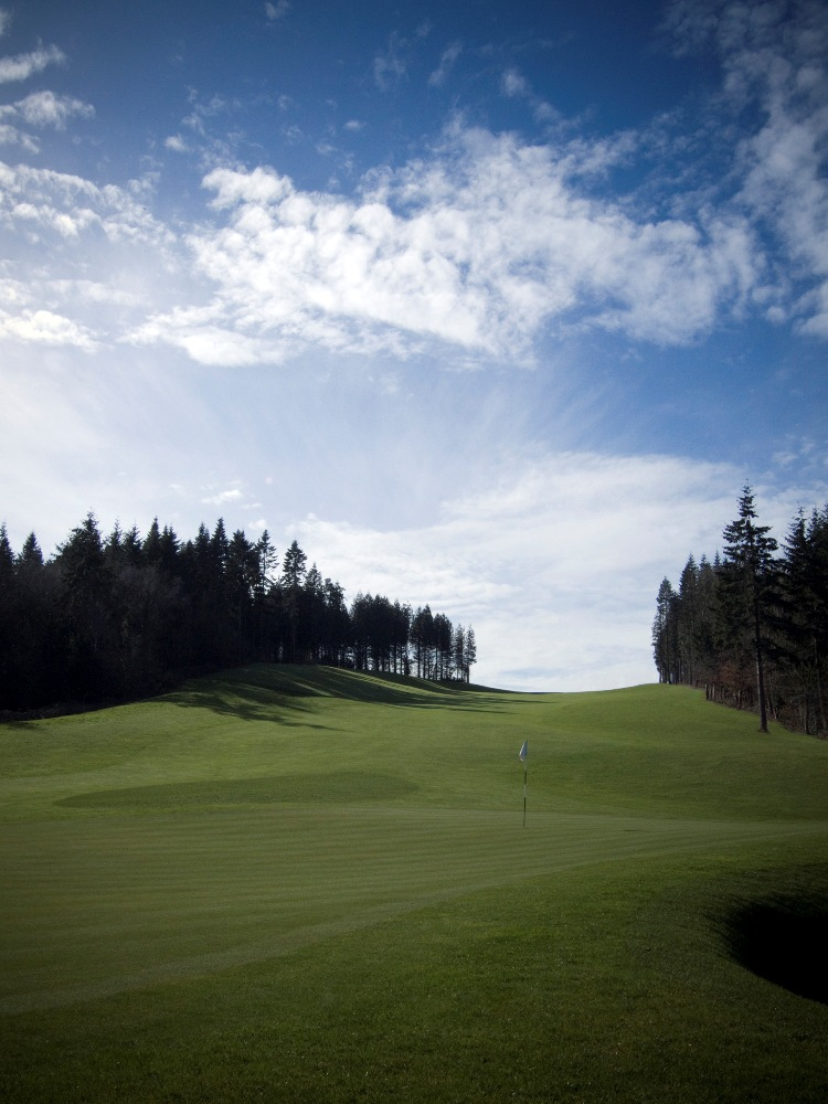Downhill hole on the Montgomerie course at Celtic Manor