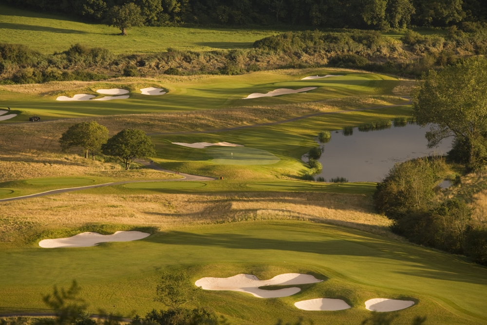 Aerial view on the Twenty Ten golf course at Celtic Manor