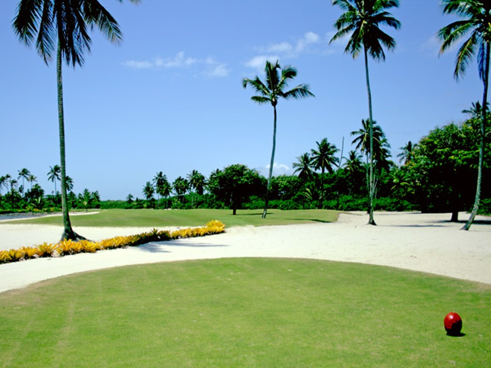 Tee at the Comandatuba Ocean Course surrounded by palm trees and sand