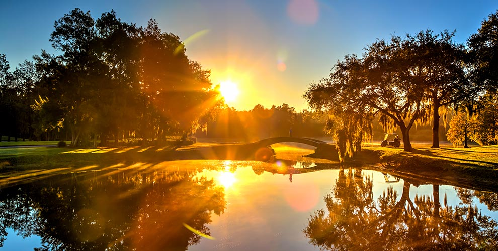 Coucher de soleil sur le parcours Innisbrook en Floride