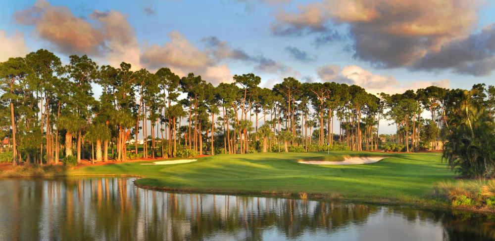 Coucher de soleil et green du PGA National