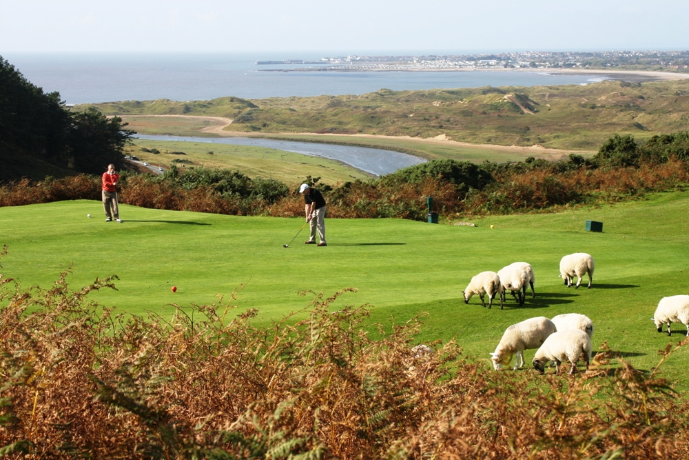 Golfers on the tee at Southerndown golf course