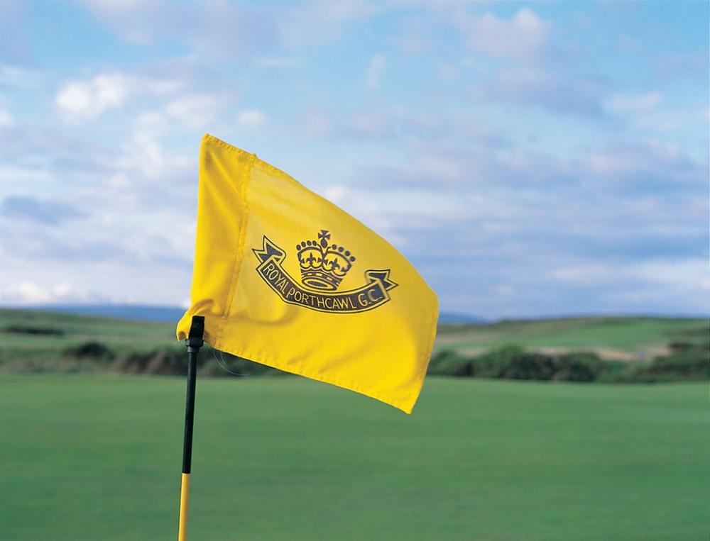 Flag on the Royal Porthcawl golf course