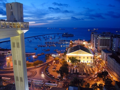 Lacerda lift overlooking the Mercado Modela at Salvador, Bahia, Brazil