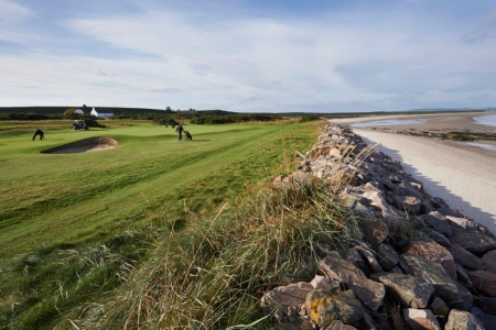 Golfers playing  at Nairn during the Tomatin Pro Am