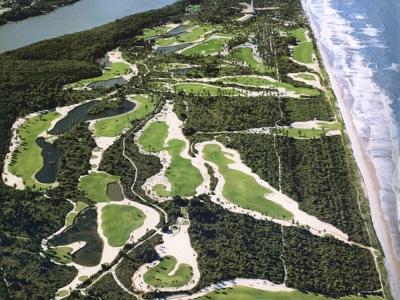 Aerial view of the Comandatuba Ocean Course at the Transamerica Resort
