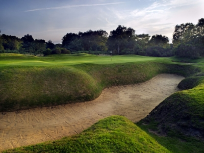 Green and bunker on the Hotchkin course at Woodhall Spa
