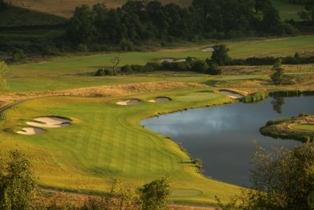 Spectacular par 4 on the Twenty Ten golf course at Celtic Manor