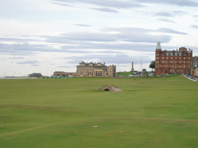 18th hole and Royal and Ancient building on the Old Course at St Andrews