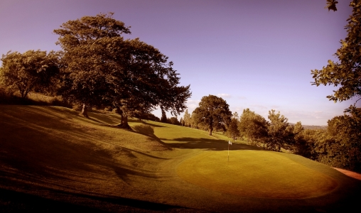Downhill hole on the Lake Course at the Vale resort