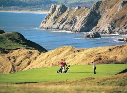 Golfers on the tee on Pennard golf course
