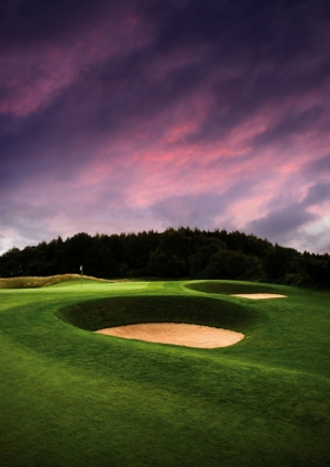 Green bunkers on the Montgomerie course at Celtic Manor