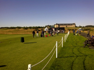Golfers on the driving range during the Scottish Senior Open Pro Am