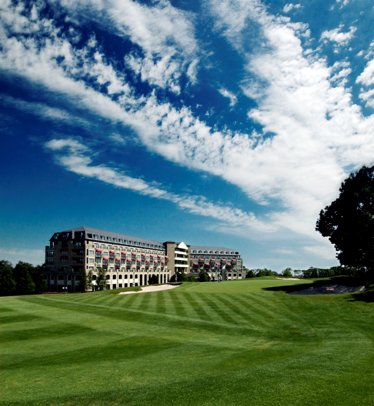 Fairway and hotel on the Roman Road course at Celtic Manor