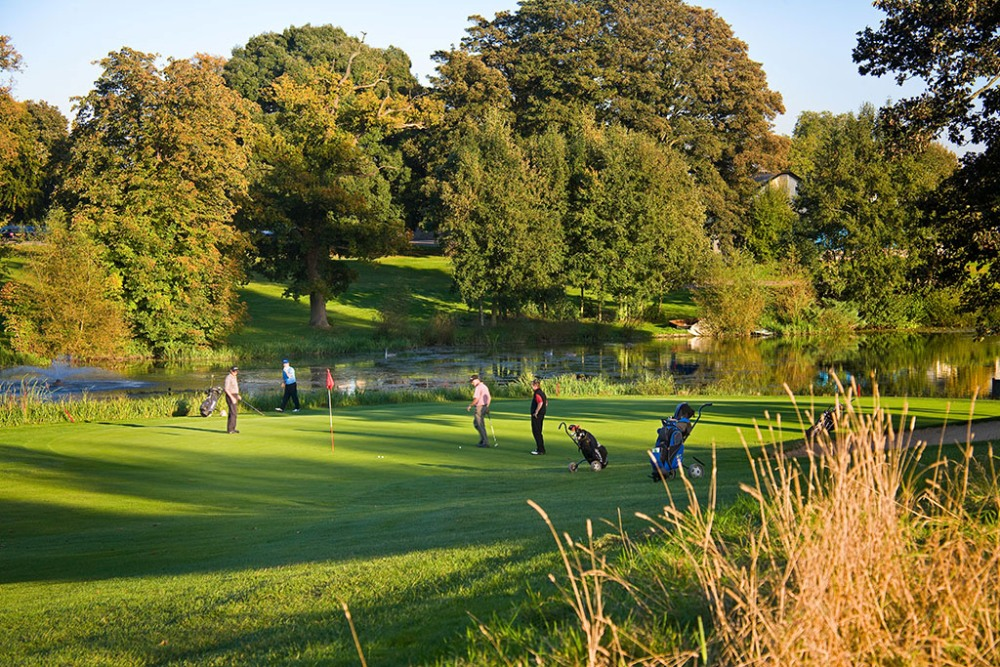 Golfers playing on the Marriott St Pierre golf course