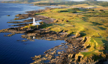 Aerial view over Turnberry Ailsa course and its signature Lighthouse