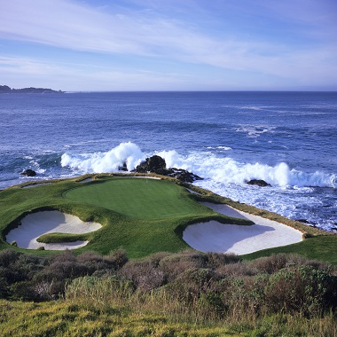 Large green and sea with waves on a course in United States
