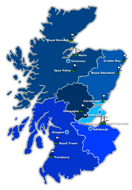 Map of Golf Regions in Scotland