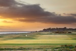 The 2nd hole at Nairn Golf Course at sunset