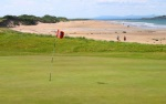 Beach and green at North Berwick golf course