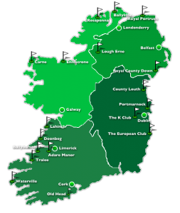 Map of Ireland showing the main regions for golf courses