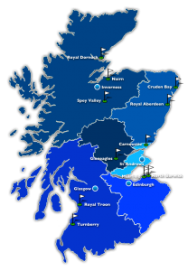 Map of Scotland and its main regions for golf courses