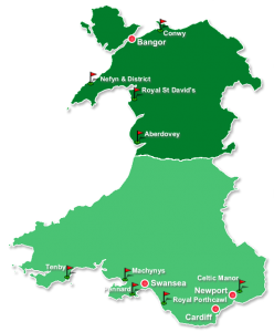 Map of Wales with the two main golf courses regions