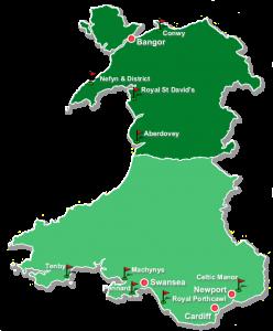 Mapa de Gales con sus campos de golf mas destacados