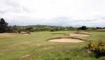 Bunkers sobre el fairway del campo de golf de Pwllheli