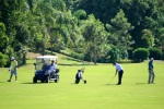 Golfers on a fairway playing at Costao Golf Club at Florianopolis