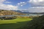Green y maravilloso paisaje sobre el campo de golf de Porthmadog
