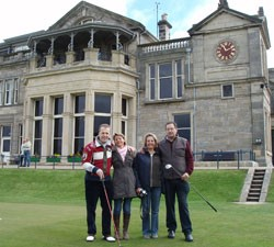 Image of four golfers standing on Scottish Golf Course