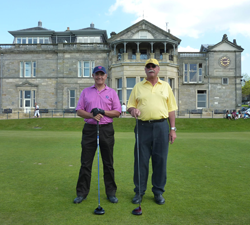 Image of two golfers standing on Scottish Golf Course
