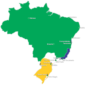 Map of Brazil with the main golf courses regions