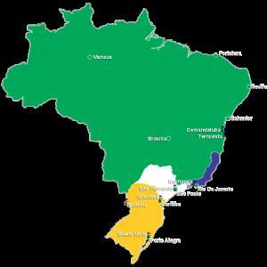Carte du Brésil et des principales régions golfiques