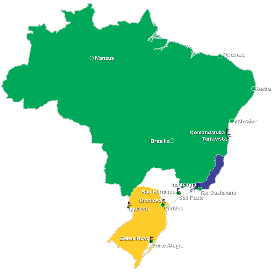 Map of Golf Regions in Brazil