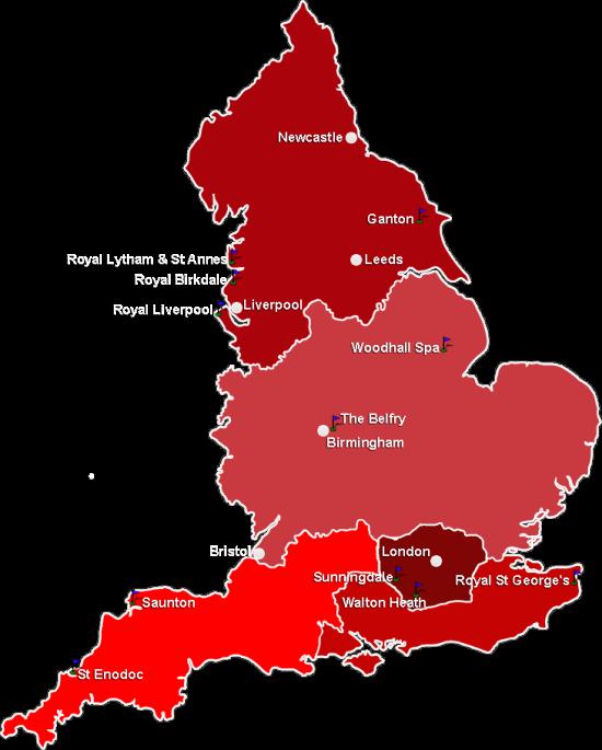 Carte Angleterre Region.Parcours De Golf En Angleterre