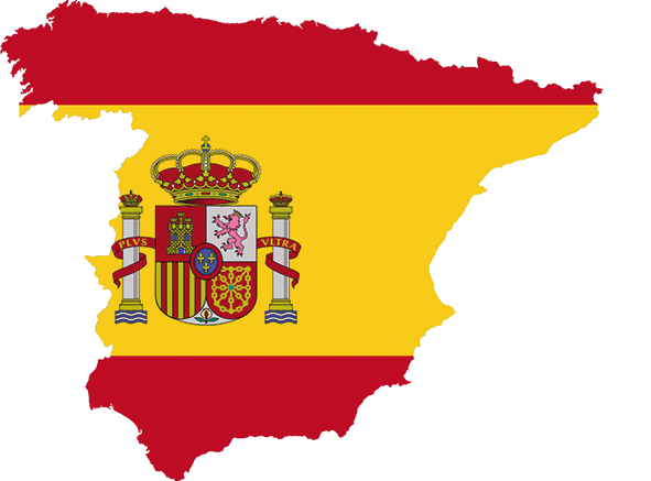 Map an flag of Spain