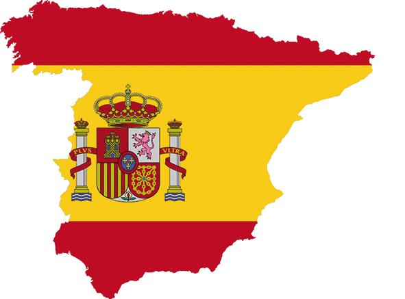 Landkarte und Flagge Spaniens