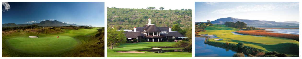 Leopard Creek, Sun City and Arabella courses in South Africa