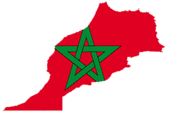 Map and flag of Morocco